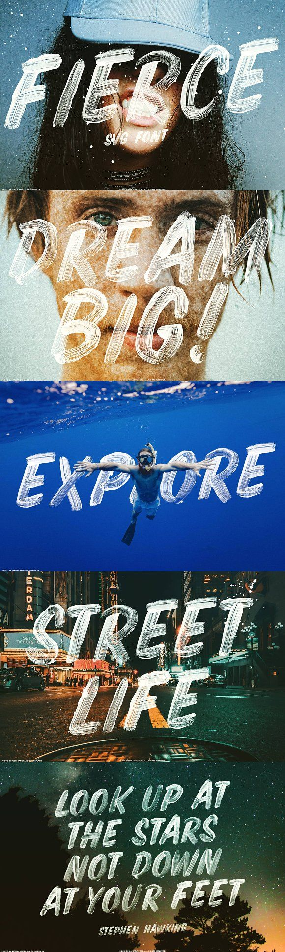 Display Fierce font SVG brush script font colour font