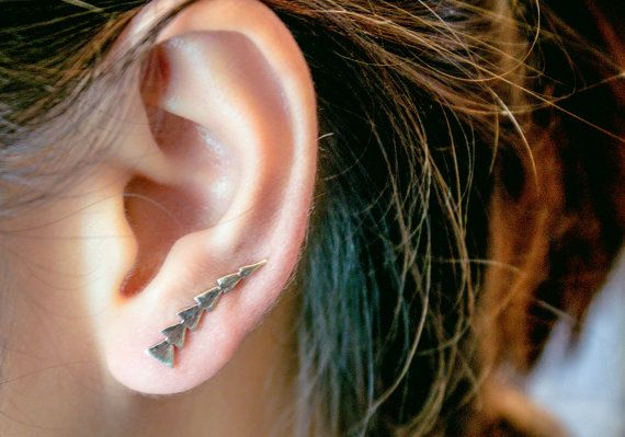 Triangle Ear Cuff Geometric Ear Cuff Triangle Pin by karlasdesign