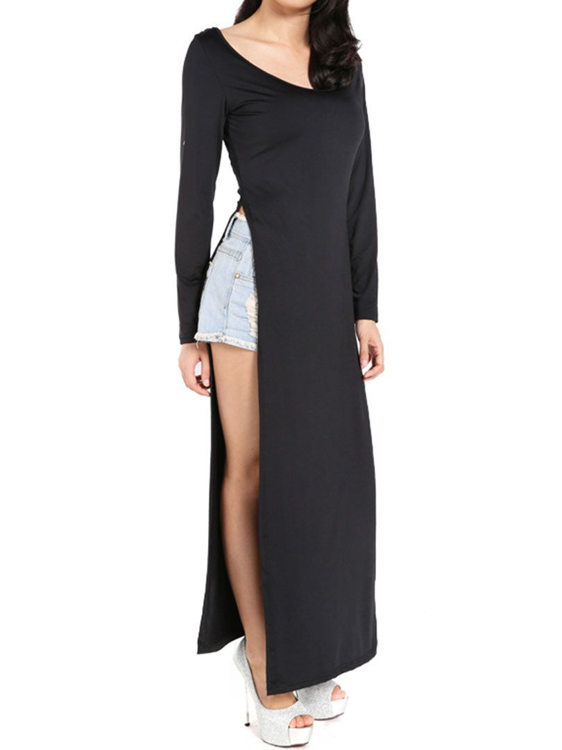 Black long sleeve side high split maxi dress fashion styles