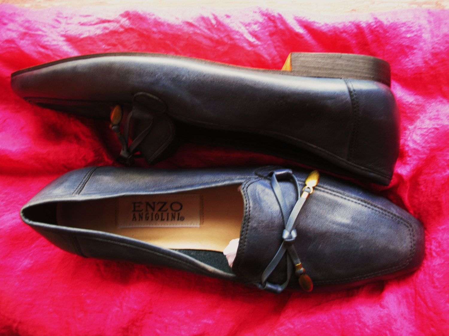 Amaizing Vintage Enzo Angiolini Shoes Blue  Leather With  Bow Low Heels Women Loafers Size 7.5 M/38 by oldmagicchest on Etsy