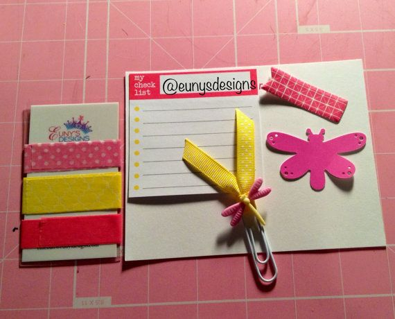 Pink and Yellow Dragon Fly Sample Set by EunysDesigns on Etsy, $3.75