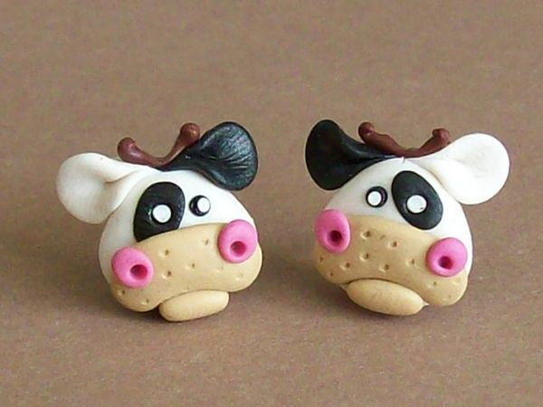 Cows earrings polymer clay fimo handmade by CreationsbyMD on Etsy, $4.00