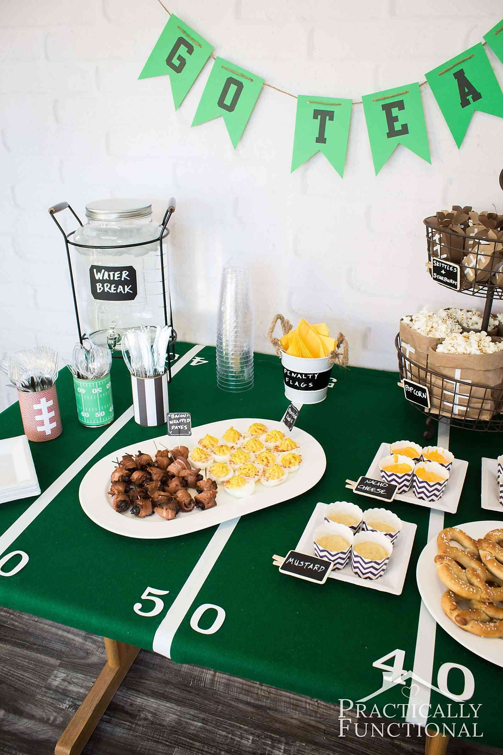 great football party ideas! food and football themed decorations for