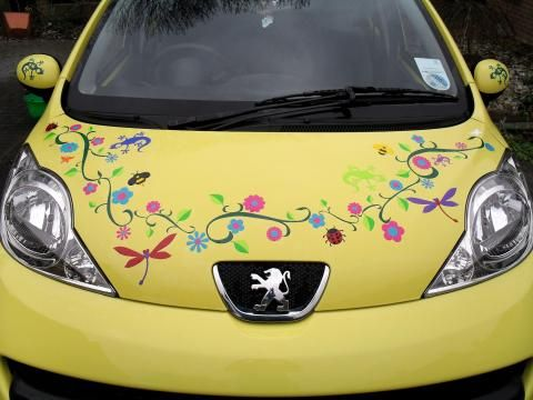 Hippy Motors Car Stickers Flower Decal Stickers Unique Sticker - Car decal sticker girl