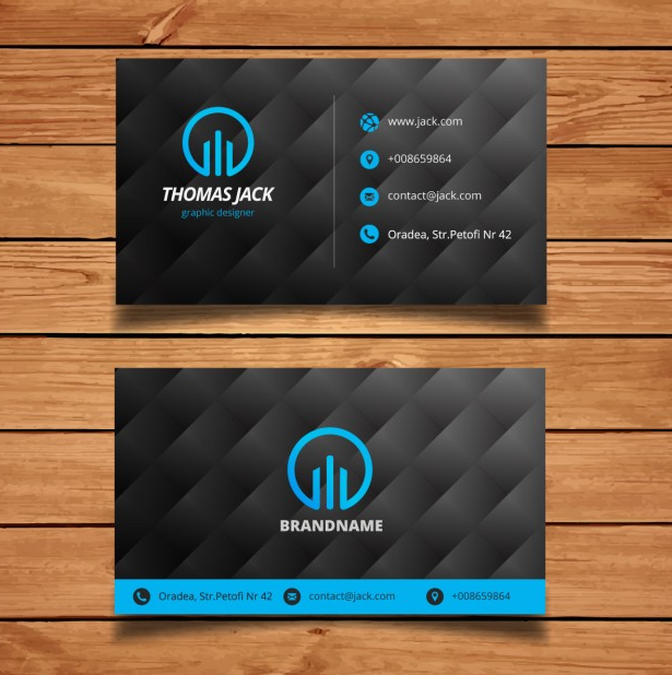 Pin by anna rogers on work business cards pinterest business cards black and blue modern business card template flashek Image collections