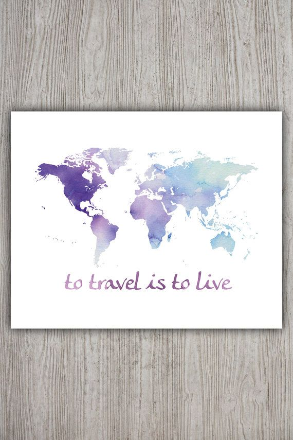 Travel decor travel the world map art world poster wanderlust travel decor travel the world map art world poster wanderlust world travel map printable world map print watercolor world map poster gumiabroncs Image collections