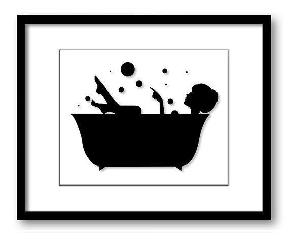 Exceptional Bathroom Decor Bathroom Print Black White Girl With Hair Up In A Bathtub  Tub Bathroom Art