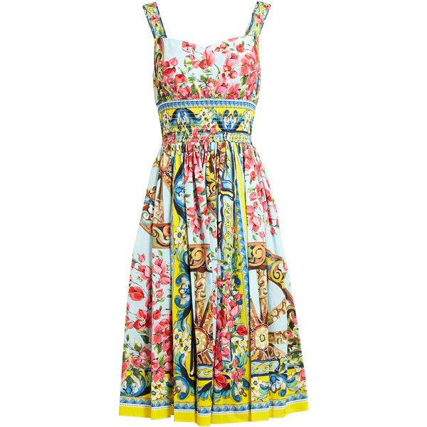 DOLCE & GABBANA Floral Printed Cotton Dress ($1,500) ❤ liked on Polyvore featuring dresses, vestidos, short dress, mini dress, ruched dress, pleated mini dress, short dresses and floral mini dress