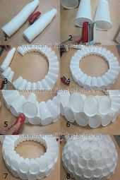 Snowman made with plastic cups #made #plastic cups …- Schn…