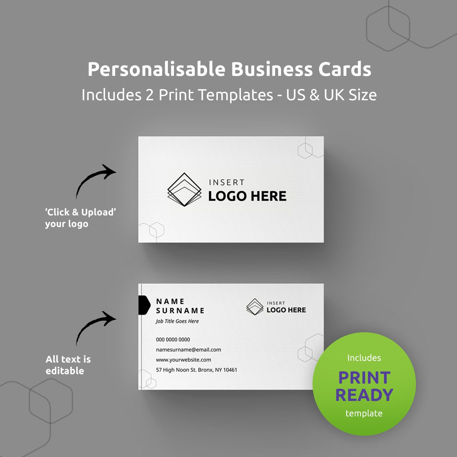 Business Cards Template Printable Business Card DIY