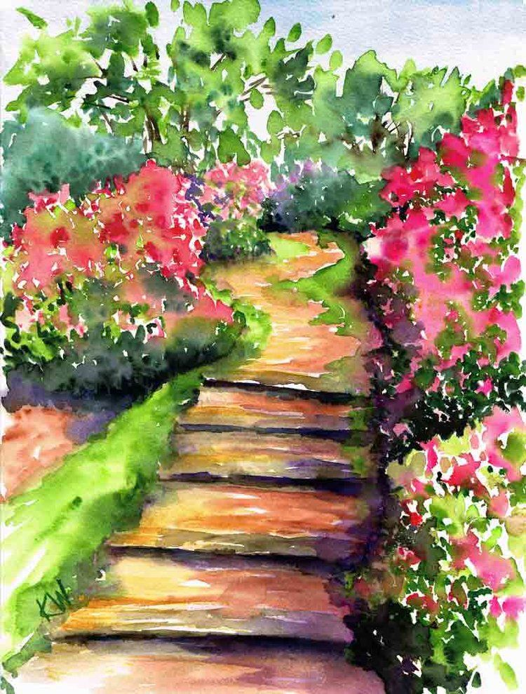Watercolor Garden : watercolor, garden, Bougainvillea, (Garden, Watercolour, Kerrie, Woodhouse, Garden, Watercolor,, Loose, Watercolor, Paintings,, Painting
