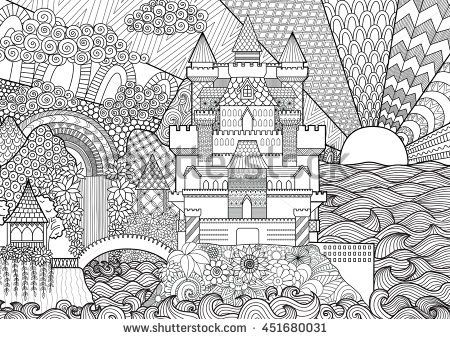 Zendoodle Castle Landscape For Background Adult Coloring And Design Element Stock Vector