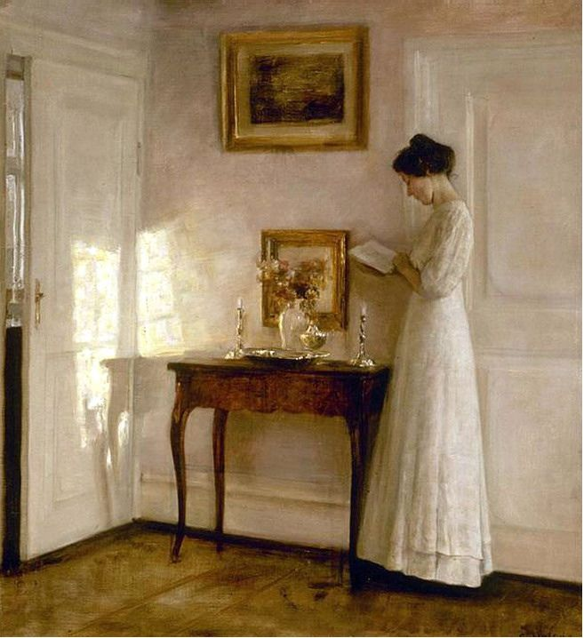 "Carl Vilhelm Holsøe [Danish artist, 1863-1935] was influenced by Vermeer's 17th century Dutch interiors.  Oil on canvas Private collection -----  Brothers-in-law Peter Vilhelm ILSTED and Vilhelm  HAMMERSHØI along with brothers Carl Vilhelm HOLSOE and Neil HOLSOE  were leading artists in early 20th century Denmark.   Peter, Vilhelm, Carl and possibly Neil were members of 'The Free Exhibition', a progressive art society created around 1890. They are famous for painting images of ""Sunshine and…"