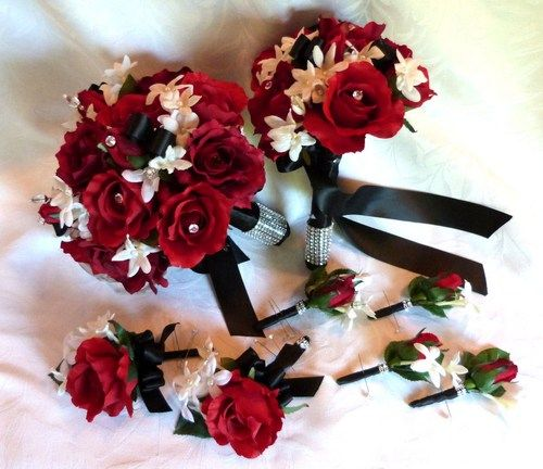 Red rose Bridal bouquet in red white black wedding bouquet - I like ...