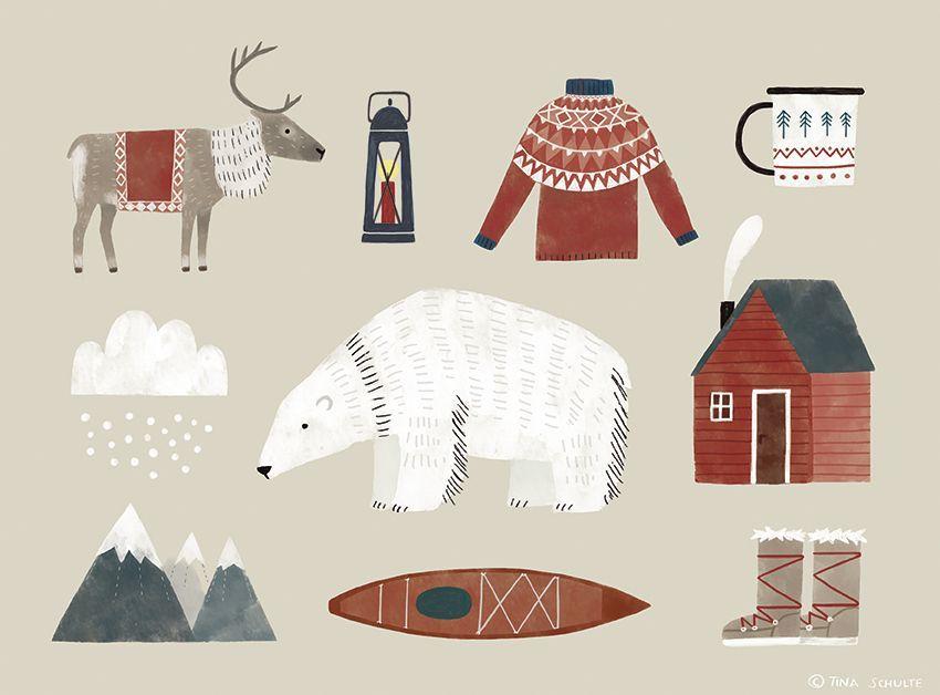 Greenland Winter Polar Bear Reindeer Postcard Tina Schulte Illustration Illustration Design Christmas Illustration Illustration