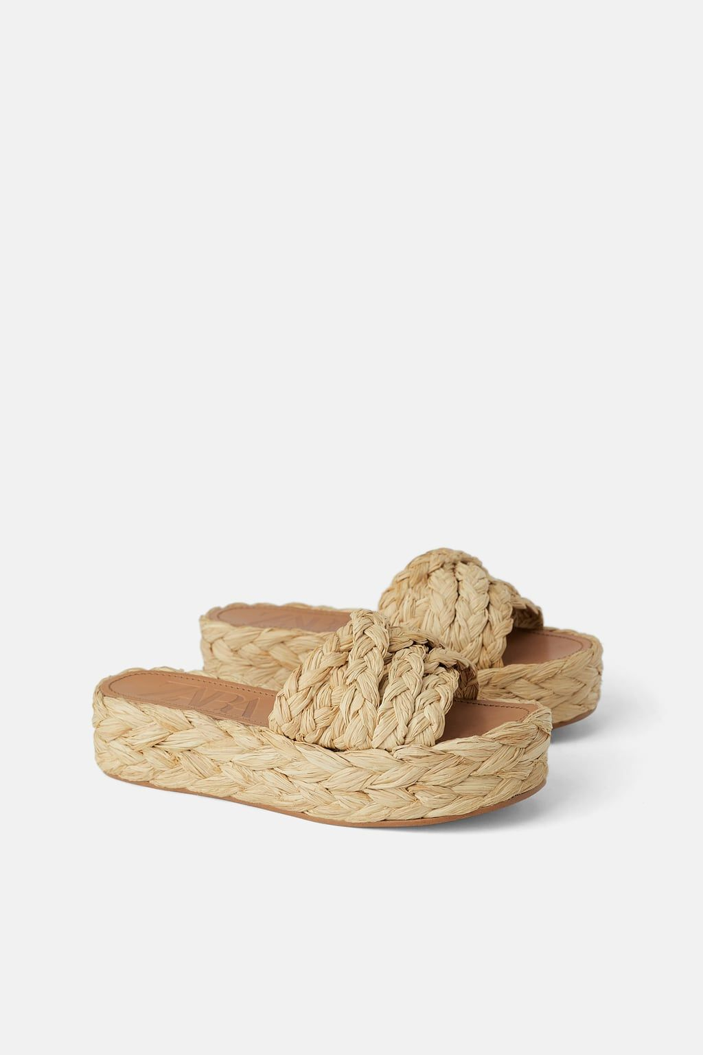 97b6e396c0 Natural raffia platform wedges in 2019 | Shoes: sandals / slides ...