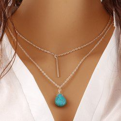 Faux Turquoise Water Drop Colar Layered Bar