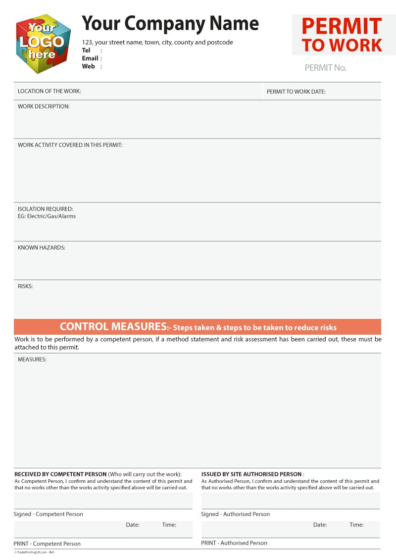 Permit To Work Template Artwork For Carbonless Ncr Print With