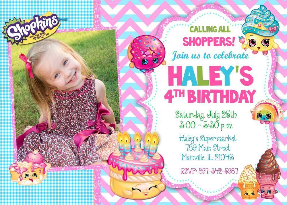 Birthday party invitation aniversrio shopkins birthday party invitation stopboris Gallery
