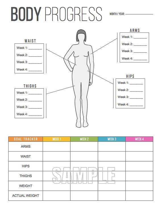 Body progress tracker printable measurements also weight rh pinterest