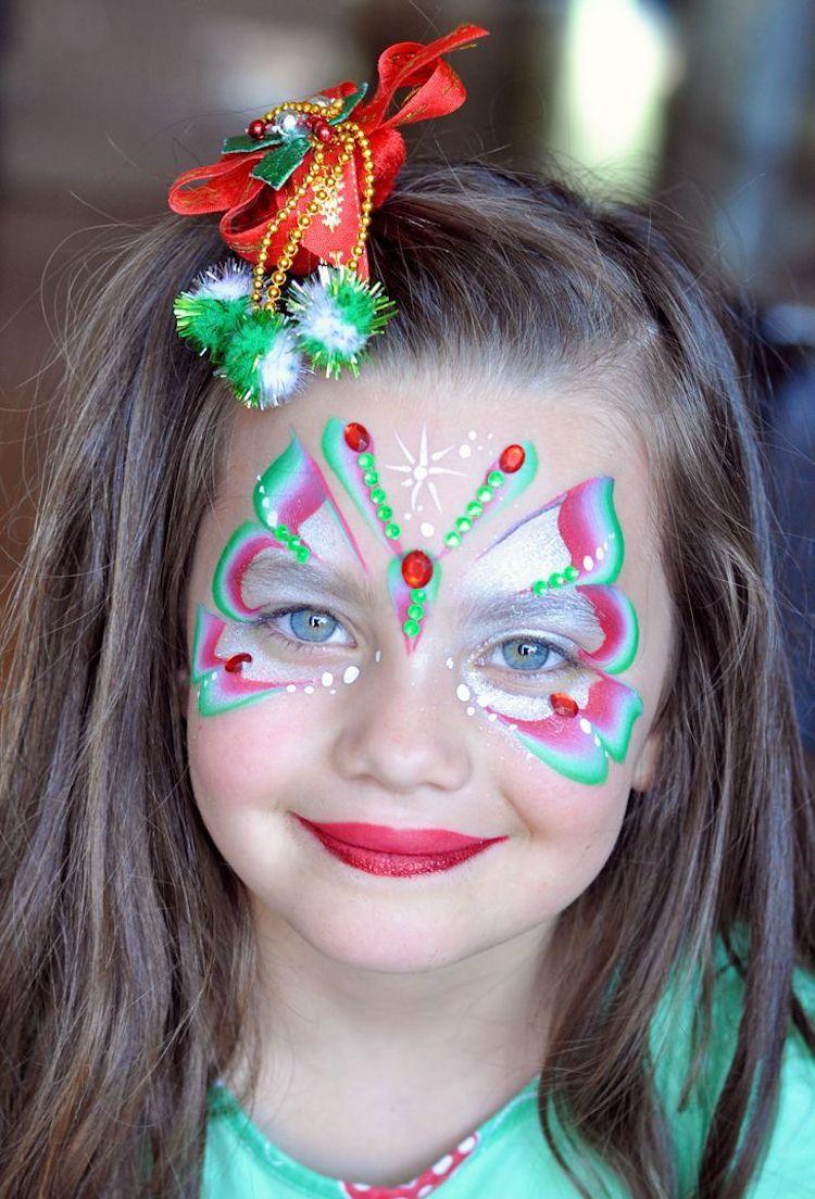 Kinderfasching Schminken Schmetterling Grun Rosa Makeup Fasching
