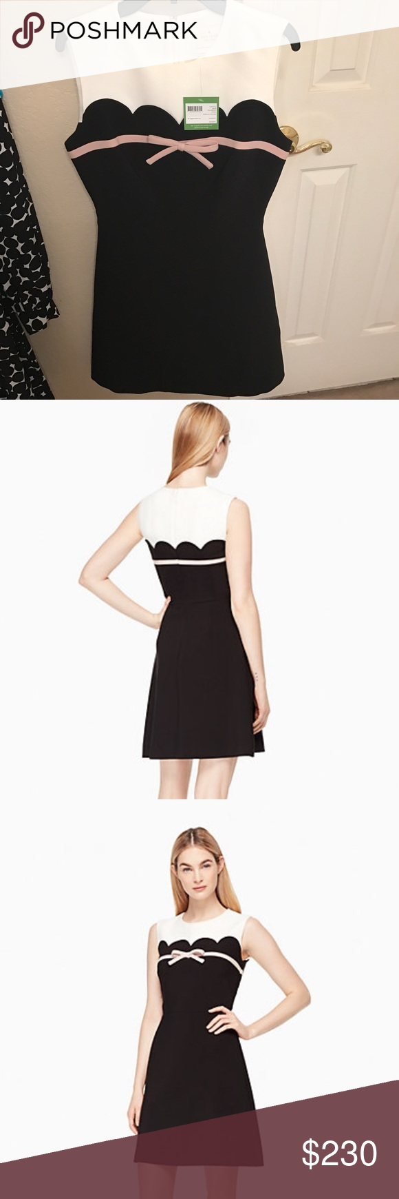 Kate spade scallop bow A-line dress Brand new with tags! On the website for $328 plus tax. New worn and brand new for 2017. kate spade Dresses