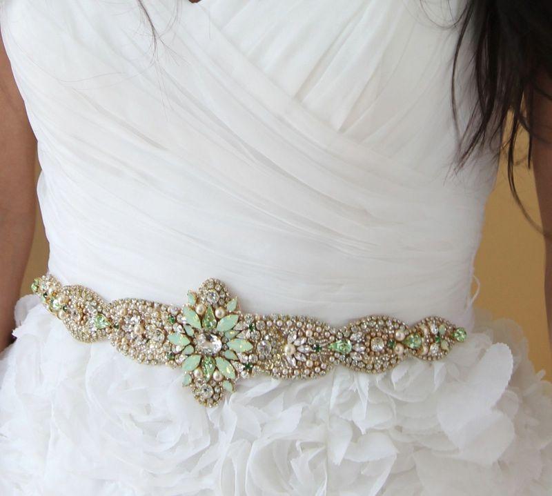 Knr Handmade Crystal Opal Bridal Belt Vintage Wedding One Of A Kind