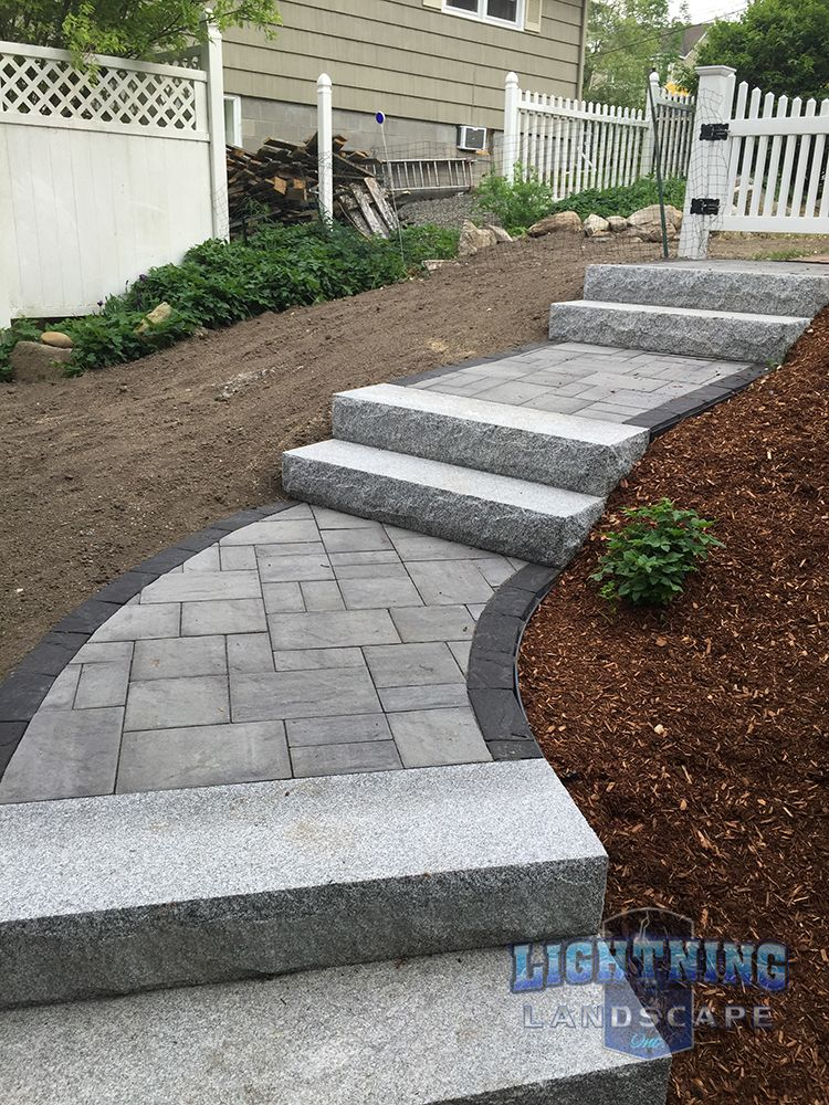 Paver Walkway Granite Steps To Make A Steep Slope Manageable By Lightning Landscape Inc Walkway Landscaping Front Yard Landscaping Front Landscaping