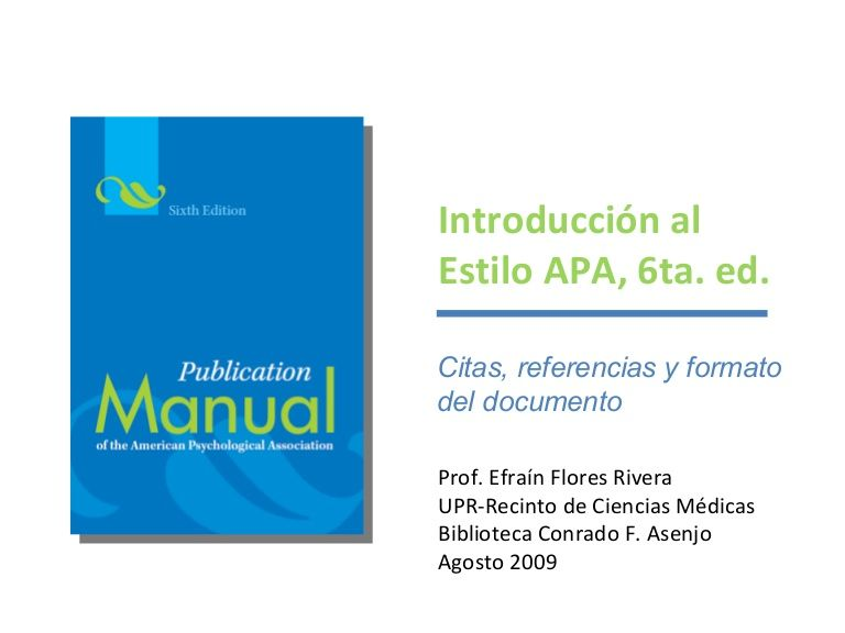 Introducción A Las Normas De Estilo Apa 6ta Ed Para Citar