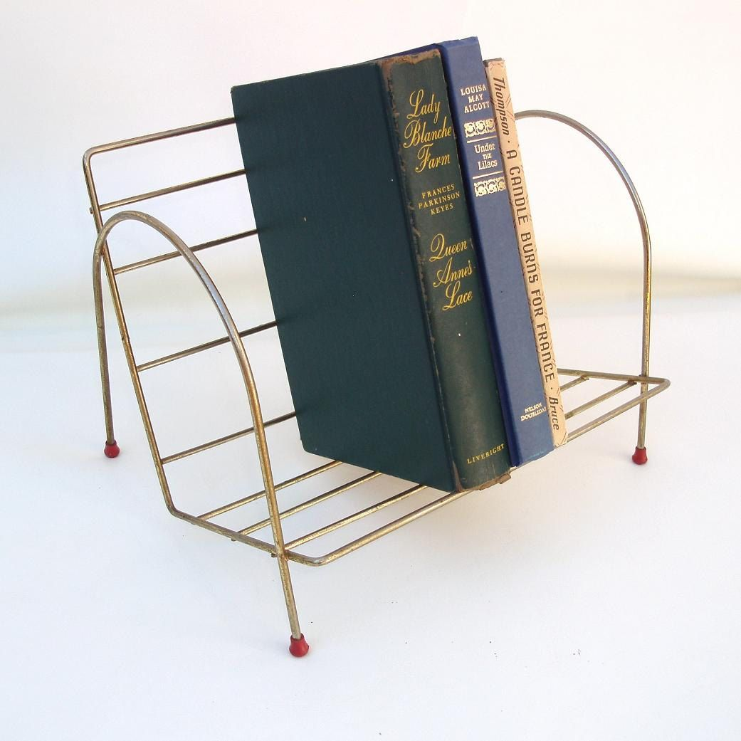 Vintage Metal #Book #Rack Wire Shelf Desk Top #Storage Organizer Tabletop # Bookshelf Magazine Holder By WhimzyThyme On Etsy