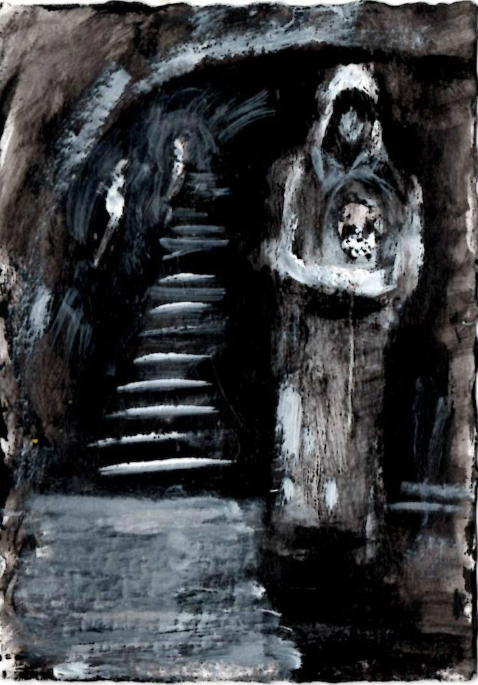 """""""THE CRYPT"""" acrylic on bristol board ,  original   ,ACEO  jack larson 3.5""""x2.5"""" #Abstract"""