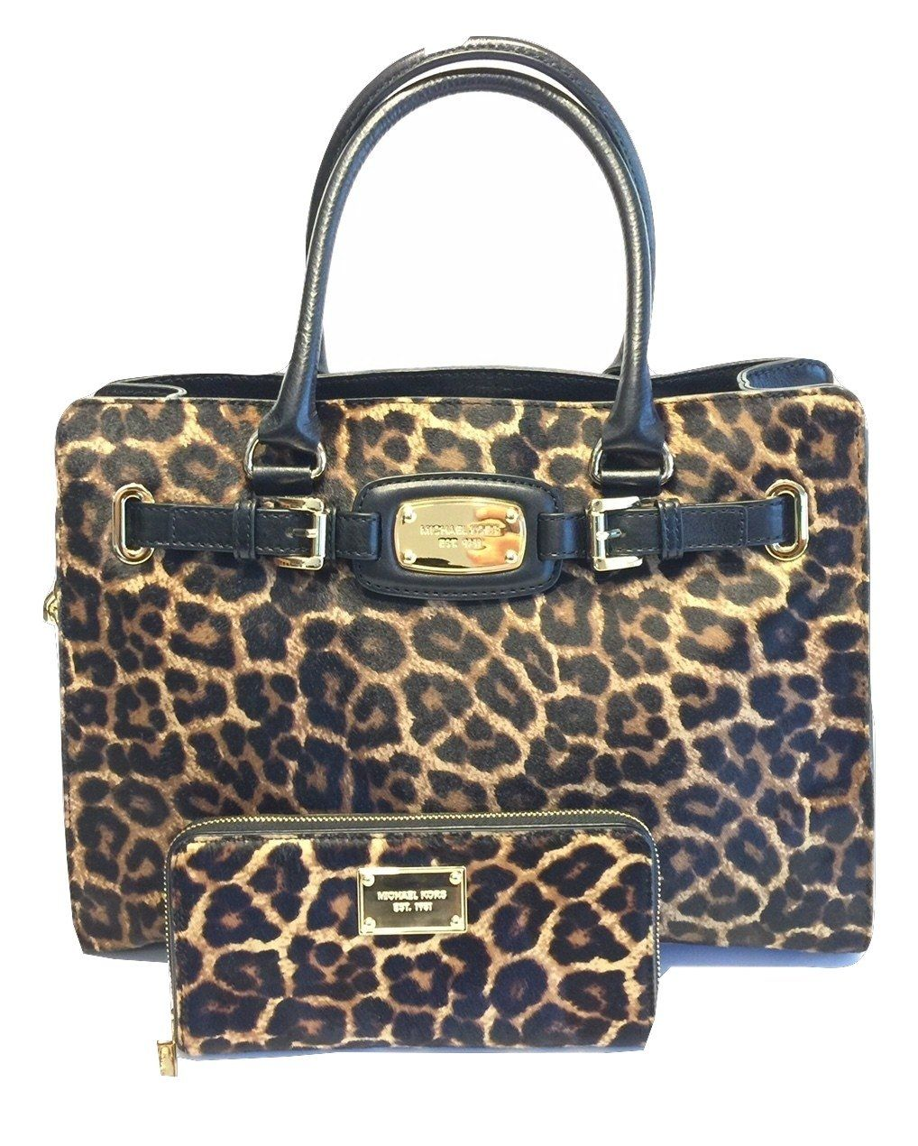0e0fefbbc6c8 Michael Kors Hamilton Large EW Tote and ZA Continental Wallet Cheetah Calf  Hair Matching Set