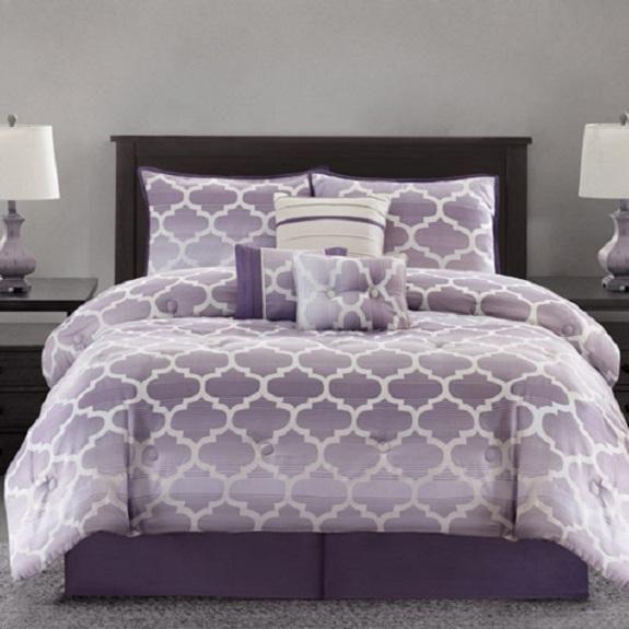 Purple Ivory Luxury Jacquard Modern Geometric Trellis 7pc Comforter Set King Purple Bedrooms Bedroom Comforter Sets Purple Bedding