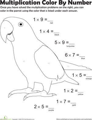 Multiplication Color by Number: Parrot 4 | 3rd grade math, Math ...
