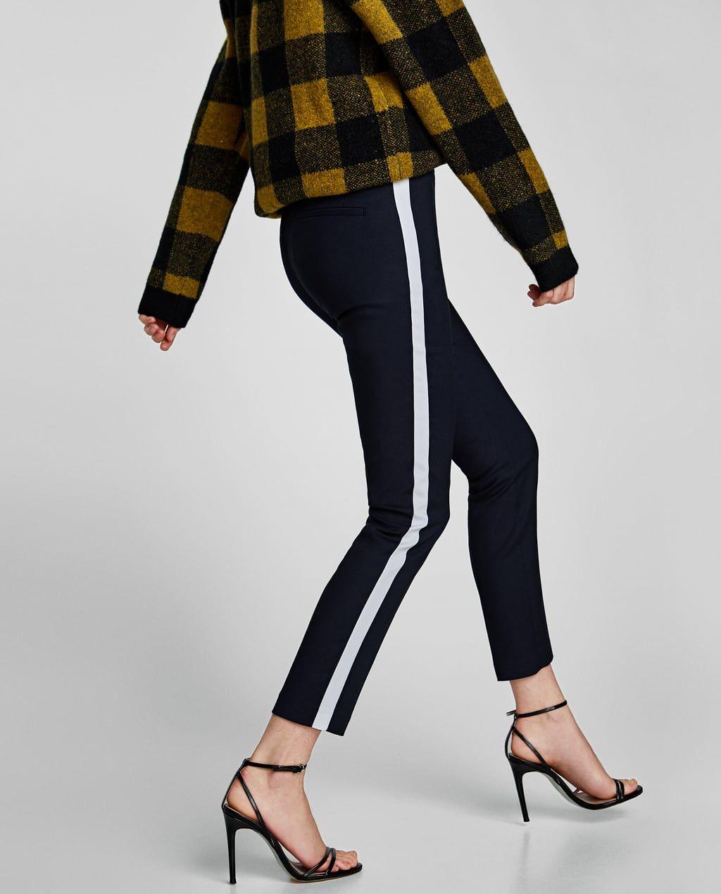 Hose Mit Seitlichem Streifen Mit Seitlichen Streifen Hosen Damen Zara Deutschland Hosen Damen Gestreifte Hose Hosen