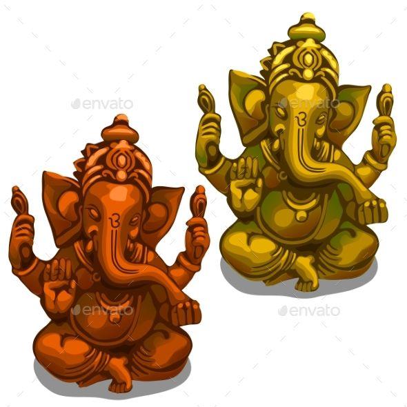 Vector Figurines of the Indian Deity of Ganesha