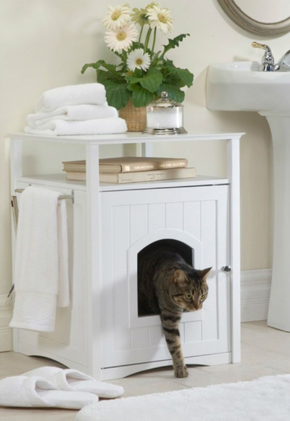 Perfect Kitty Litter Box Enclosed Cat Litterbox With Covered Cabinet Furniture End  Table #MerryProducts