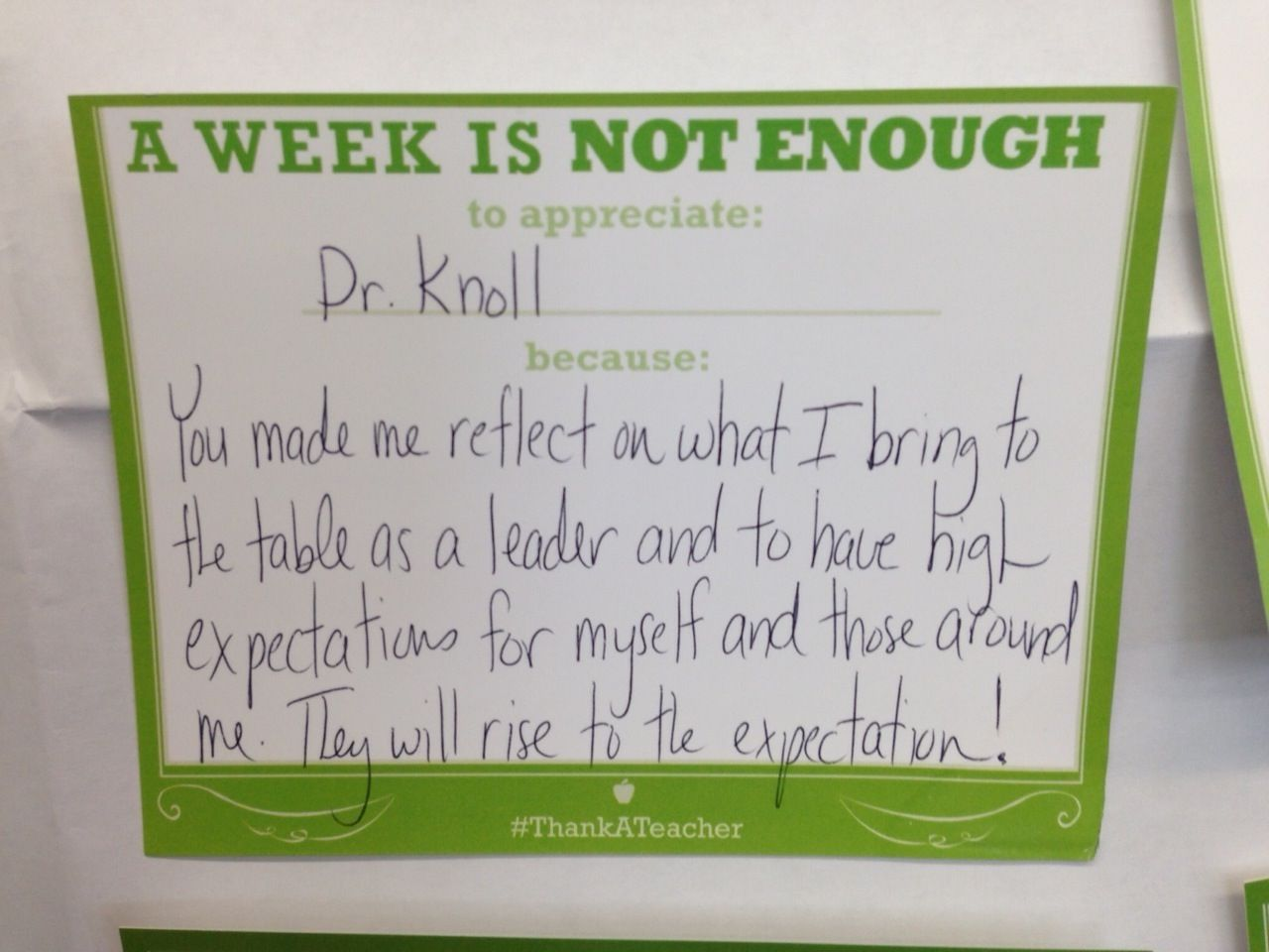 Dr Knoll Many Thanks To You For Encouraging The Teacher