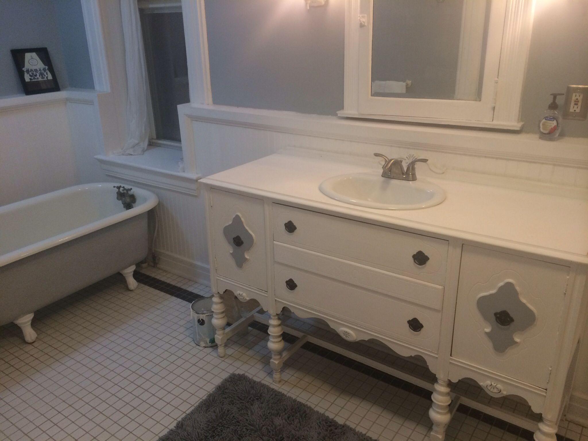 Buffet Table Turned Into Bathroom Vanity Vanity