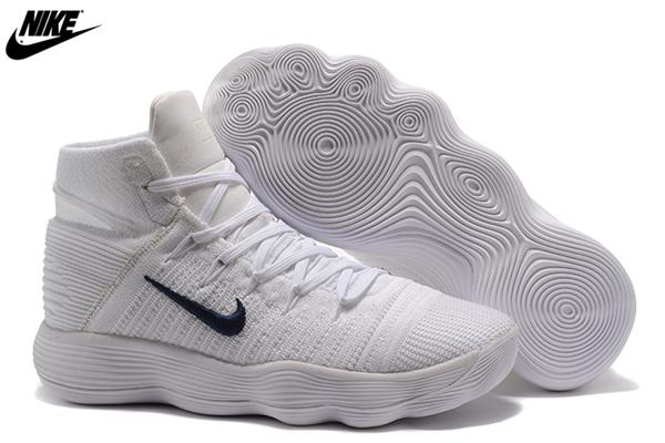 67664e2645ec MenS Nike React Hyperdunk 2017 Flyknit Basketball Shoes White Navy ...