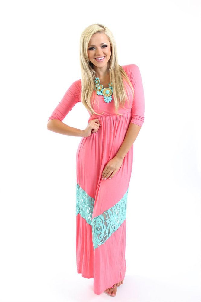 Ryleigh Rue - 3/4 Sleeve Coral and Blue Lace Mommy Maxi Dress, $46.00 (http://www.ryleighrueclothing.com/mom-dresses/3-4-sleeve-coral-and-blue-lace-mommy-maxi-dress.html)
