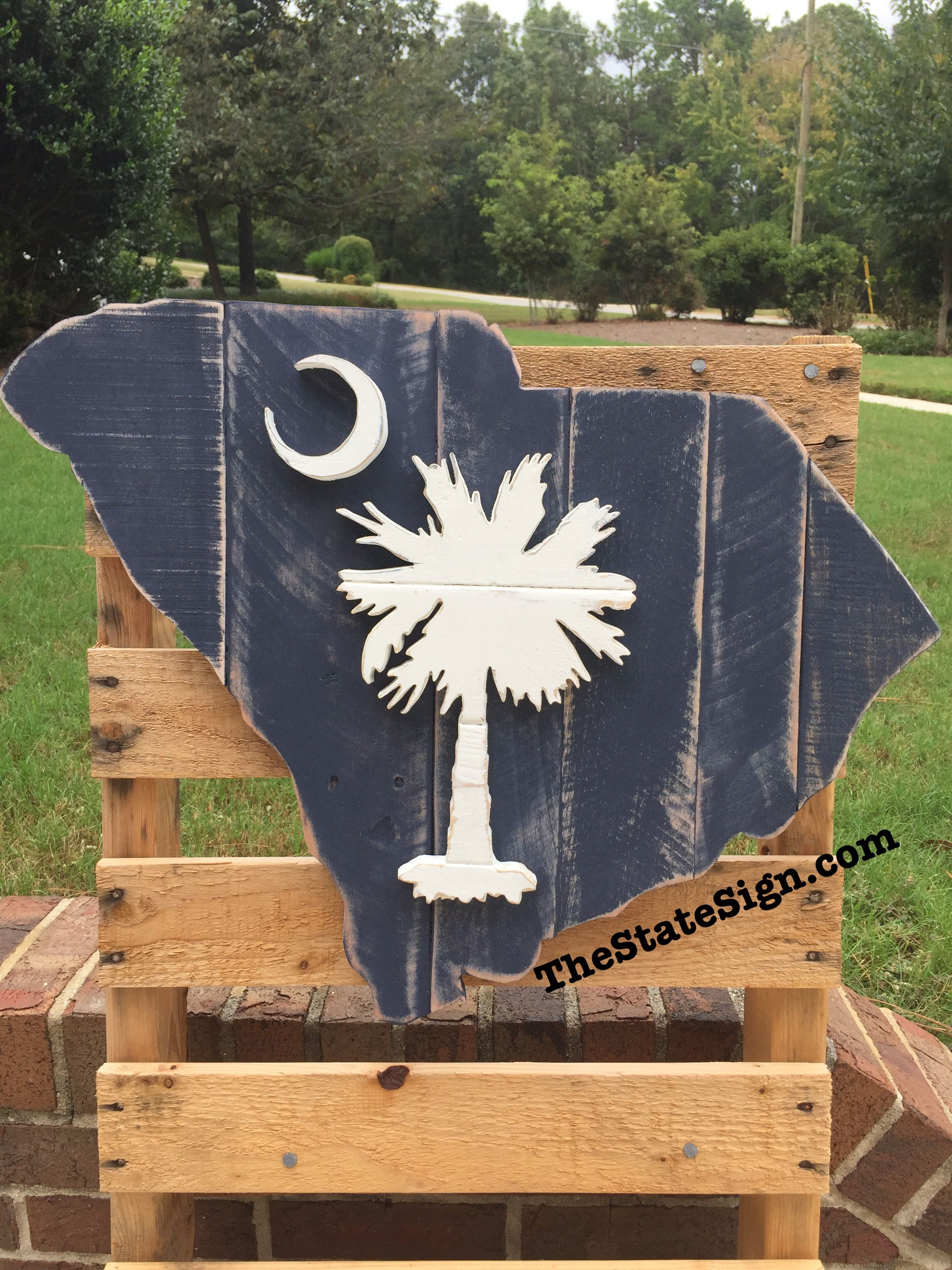 South Carolina Sc State Flag Design Wooden Pallet State Sign From