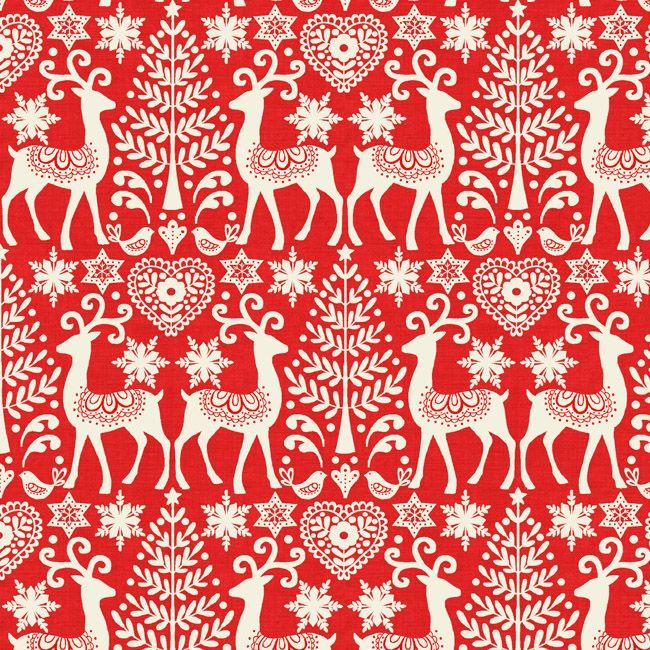 Scandi 3 Reindeer Makower Fort Worth Fabric Studio Christmas Fabric Scandinavian Fabric Scandi Christmas