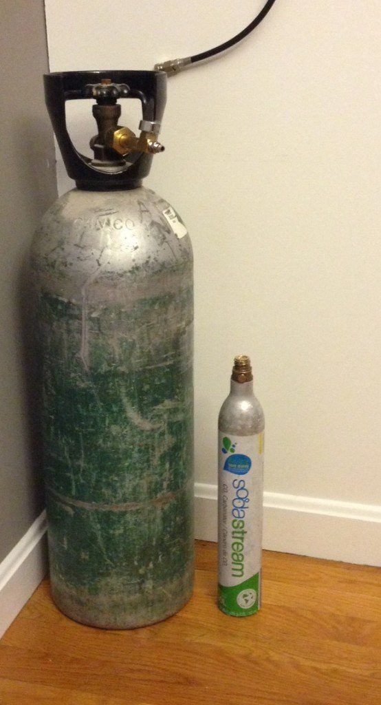 The new CO2 tank is slightly larger than the sodastream tank...