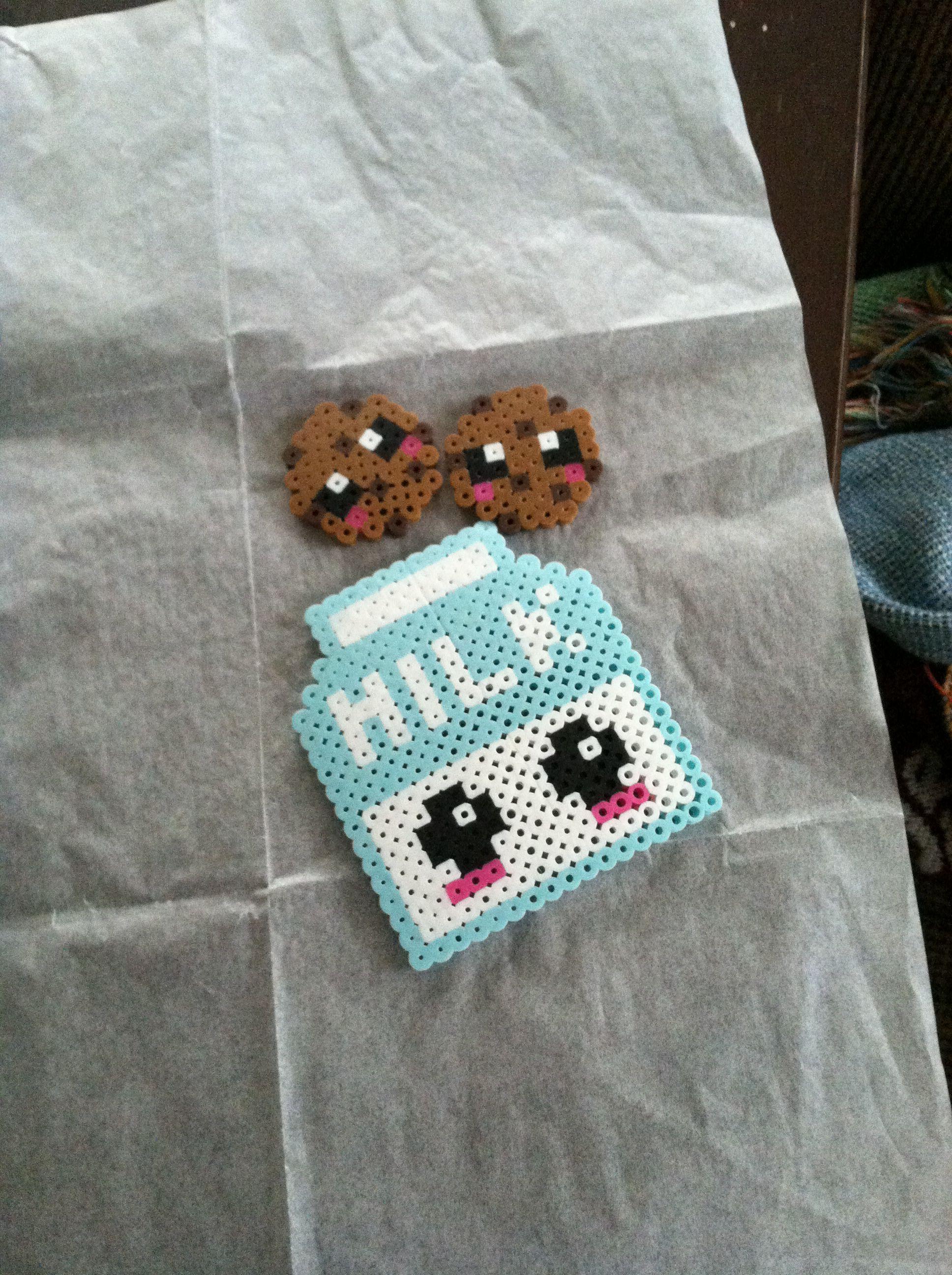 Kawaii Milk And Cookies So Cute And So Easy To Make Perler Beads
