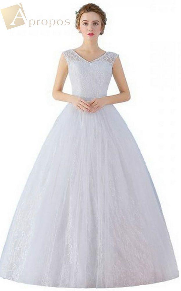 Brautkleid Hochzeitskleid Lang Tüll Weiß Pailletten Unterrock ...