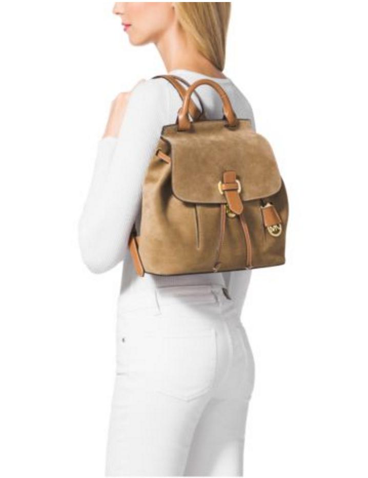 7183cf0dfc3b ... usa michael kors romy medium suede backpack in desert 7701d e613b