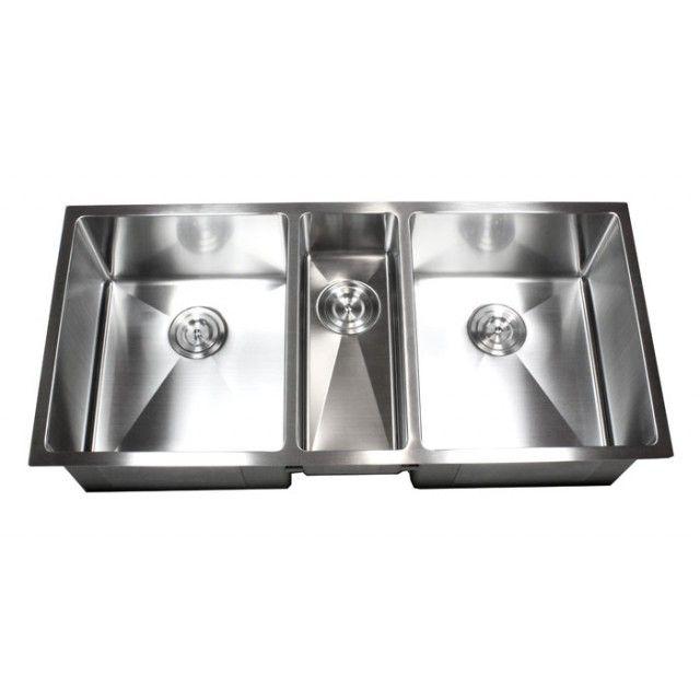42 Inch Stainless Steel Undermount Triple Bowl Kitchen Sink 15mm