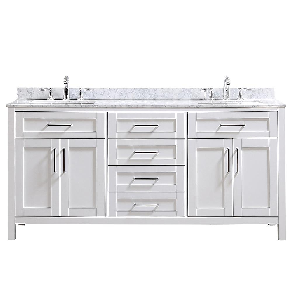 Home Decorators Collection Riverdale 72 In W X 21 In D Vanity In White With A Carrara Marble Vanity Top In White With White Sink Riverdale 72w The Home Depo Marble