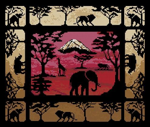 Free cross-stitch pattern 'Kilimanjaro' Pattern Name: Kilimanjaro Colors: 13 Madeira Fabric: Aida 14, White 198w X 168h